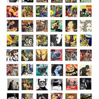 """creatures monsters movies comics collage sheet 1"""" inch squares pendants digital download graphics images printables"""