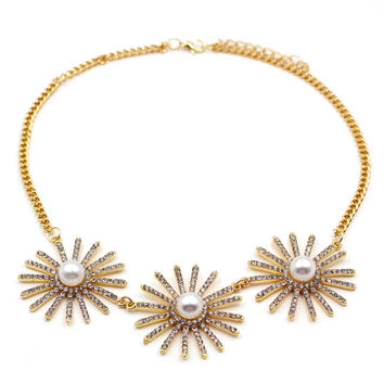 Noble Metal big flower pearl necklace