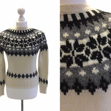 Vintage Benetton Jumper - Knitted Pullover - Cream And Grey Patterned 90's Jumper