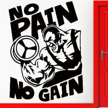 Wall Stickers Bodybuilding Fitness Bodybuilder Crossfit No Pain No Gain Unique Gift (z2350)
