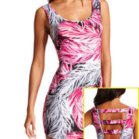 Charlotte Russe - Feather Print Body-Con Dress