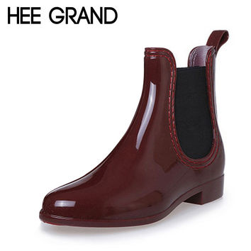 HEE GRAND Fashion RainBoots Pointed Toe Women Rubber Ankle Boots Slip On Platform Low Heels Shoes Woman Size 35-39 XWX2330
