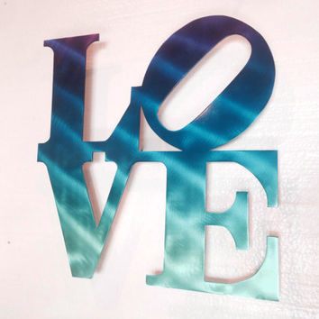 Love Wall Art - Love Metal Sign - Wall Decor - Home Decor - Turquoise - Blue - Love Art