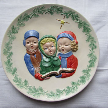Vintage Christmas Carollers Decorative Plate