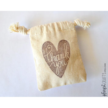Muslin favor bag, thank you favor bag, thank you heart, party favor, wedding favor, cotton favor bag for gifts