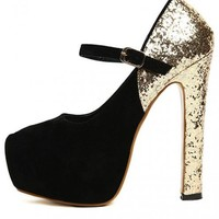 Black Cingulate Platforms Shoes$56