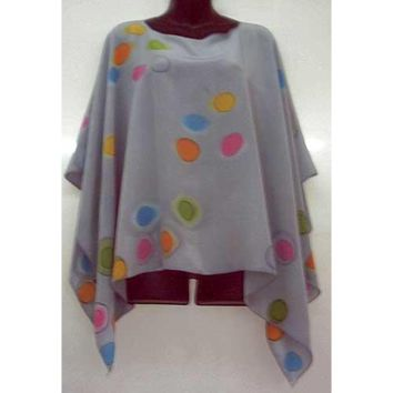 Women'S Silk Poncho - Autumn Grays With Colors