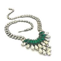 Green & Clear Rhinestone Necklace, Clear Marquis N Round, Emerald Green Navettes, Silver Tone, Vintage Wedding and Special Occasion Necklace