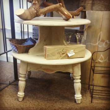 Shabby Chic Accent Table, Two Tier Table, Hand Painted Table, Painted Distressed Accent Table, Country Table, Cream Side Table