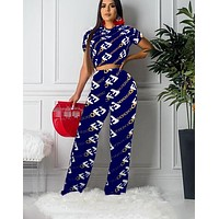 Fendi 2019 new women's letter printing two-piece Blue