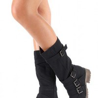 Combat Buckle Riding Mid-Calf Boot