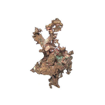Native Copper, Michigan, Natural Copper Arborescent Mineral Specimen with earth pebbles still attached from Caledonia Mine Collector Geo Gem