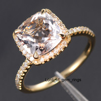Cushion Morganite Engagement Ring Pave Diamond Wedding 14K Yellow Gold 8mm