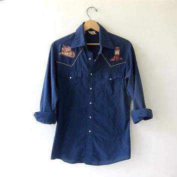 70s western Ranchwear shirt. Embroidered top. pearl snaps.