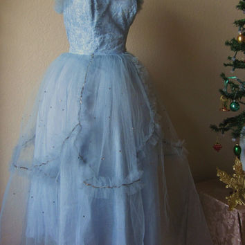Vintage-1950s-Blue-Prom Gown-Blue Tulle-Rhinestone-Sequen-Tulle-Ballerina-Cupcake Dress-Prom-4