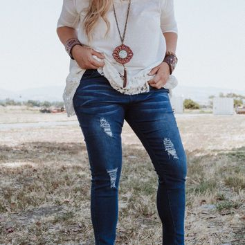 Essential Distressed Plus Size Pull On Skinny Jeans - Blue