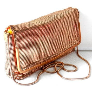 1960's Glomesh Metallic Gold Mesh Purse with Snake Chain Strap