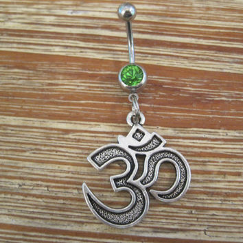 Belly Button Ring - Body Jewelry - Silver Om Symbol with Green Gem Stone Belly Button Ring