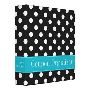 Teal Blue and Black Polka Dot Coupon Organizer Binders from Zazzle.com
