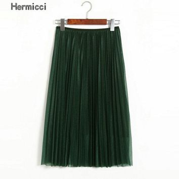 hermicci High Waist Bling Satin Look Pleated Skirt 2017 Summer Elastic Waist Midi Long Women Fashion Skirt Black Green Skirt