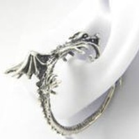 Sterling Silver Whisperer Hoop Dragon Ear Wrap Cuff Right Ear