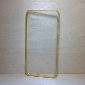 For Apple iPhone 6 Plus (5.5 inches) Champagne Silicone Bumper and Clear Hard Acrylic Case