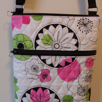 Mod Floral Fun Bright White Pink Green Quilted Small Zipper Hipster/Shoulder/Crossbody Bag/Purse/Nook/Kindle/I Pad Mini/E-Reader Holder