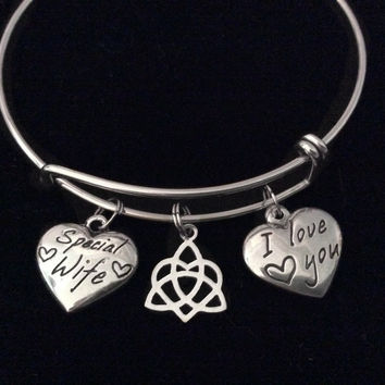 I Love You Special Wife Celtic Love Knot Stainless Steel Expandable Charm Bracelet Silver Bangle Gift Double Sided