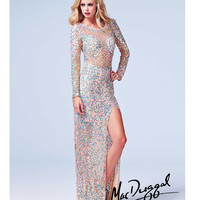 (PRE-ORDER) Mac Duggal 2014 Prom Dresses - Nude Metallic Sequin Beaded Long Sleeve Open Back Illusion Gown