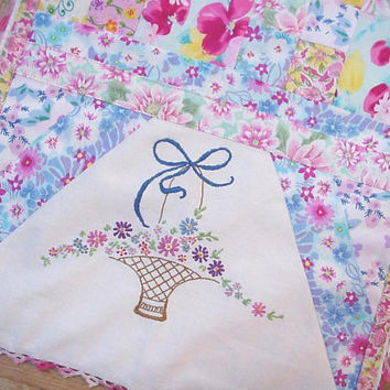 Patchwork Table Runner Embroidered Cottage Chic Pastel Dresser Scarf Vintage Repurposed OOAK Romantic Shabby Table Topper itsyourcountry