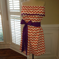 Clemson game day dress with purple or matching sash