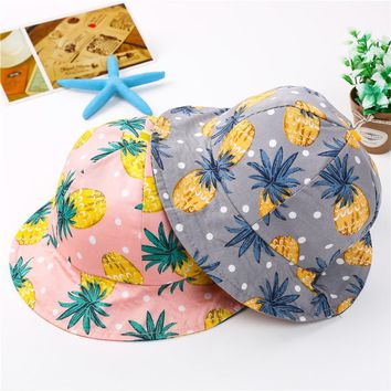 Lovely Adorable Sweet Fruit Pineaple Unisex Girl Boy Printed Soft Summer Hats Outdoor Sun-proof Dad Bucket Hat Caps Casual