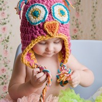 Baby Owl Hat with Earflaps Newborn Baby & Child by MySwallowsNest
