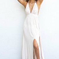Hopeful Days Natural Halter Neck Maxi Dress