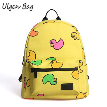 Fashion Brand Yellow Ducks Printing Backpacks for Teenage Girls Womens Backpacks PU Cute School Bag for Kids Laptop daypack
