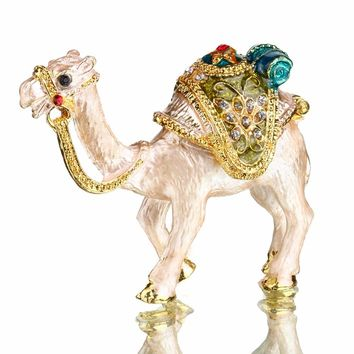 2 inch Metal Camels Trinket Box Ring with Crystal Wedding Storage Holder Earring Jewelry Box Souvenirs Brithday Girl Gift Crafts