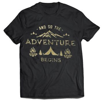 And so the adventure begins - Camping mens t-shirt