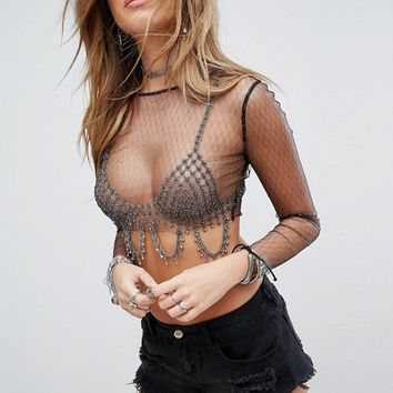 PrettyLittleThing Sheer Sparkle Mesh Crop Top at asos.com