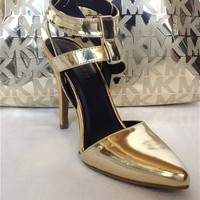 "GOLD MIRROR METALLIC ""THE GOLD DIGGER"" SEXY ANKLE STRAP HEELS-SHOE REPUBLIC LA"