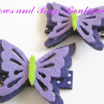 girls hair clips - summer purple felt butterfly