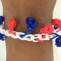 4th Of July Red White Blue Singing Bell Bracelet Rainbow Loom Handmade Rubber Bands