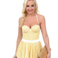 Vintage 1950s Style Pin-Up Yellow & White Gingham Fit N Flare Bandeau Swimsuit