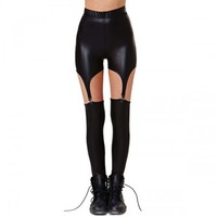 B2 – BLACK FAUX LEATHER GARTER LEGGINGS
