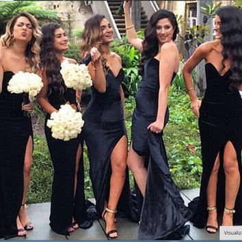 Sexy Black Bridesmaid Dress Mermaid 2016 Off The Shoulder High Side Slit  Wedding Party Gown Long Bridesmaid Dresses