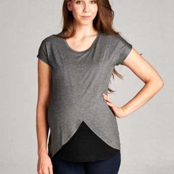 Layered Wrap Front Maternity & Nursing Top
