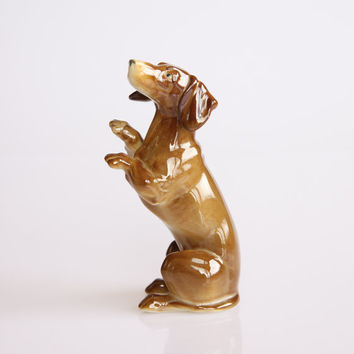 Porcelain dachshund figurine, antique dog decoration, Rosenthal porcelain dog figurine, vintage porcelain animal figurine