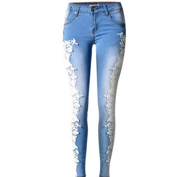 Size 34~44 Sexy Light Blue Skinny Jeans Crochet Lace Club Pencil Pants Denim Beauty Jeans For Women Plus Size