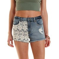 Crochet Cut-Off Denim Shorts
