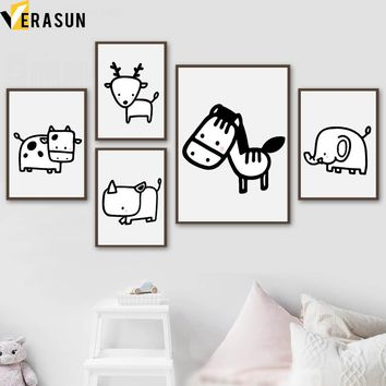Deer Horse Cow Giraffe Elephant Posters And Prints Wall Art Canvas Painting Nordic Poster Animals Wall Pictures Kids Room Decor