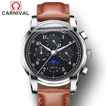 Carnival Watch Men Moon Phase Automatic Mechanical Luminous Stainless Steel Waterproof multifunction Leather Black Watches